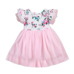 Wholesale 2019 New Hot Sale Latest Toddler Baby Girls Kids Floral Princess Dress Pageant Wedding Tulle Tutu Dress