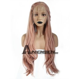 Pink Ladies Hair Australia - Anogol Pink Lace Front Wig Synthetic Peluca Long Wavy Braids with Baby Hair Lady