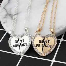 necklaces pendants Australia - 2 pieces   set Half love rhinestone pendant best friend necklace friendship gift for couple good frien dalloy pendant necklace