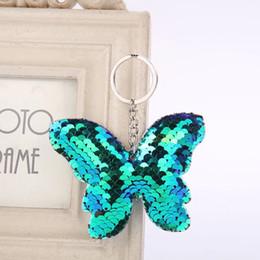 $enCountryForm.capitalKeyWord Australia - Beautiful Glitter Butterfly Keychain Sequins Key Chain Gift for Women Girl Llaveros Mujer Car Bag Accessories Key Ring