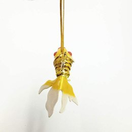wholesale christmas gift NZ - 10pcs 10.5cm Vivid Sway Enamel Large Goldfish Charm Xmas tree Decorations Unique Jewelry Charms Lucky Fish Pendant with box Christmas gifts