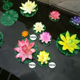 Flower artiFicial lotus Floating water online shopping - 1pcs Cm Real Touch Artificial Lotus Foam Flowers White Water Lily Floating Pool Plants For Wedding Garden EVA Decoration