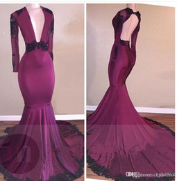 Royal couRt gowns online shopping - Simple Design Long Sleeves Prom Dresses Sheath Plunging V Neck Appliqued Beaded Open Back Court Train Party Evening Gowns Formal Robe AW325