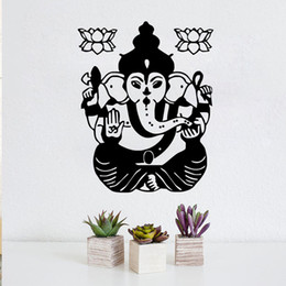 wall stickers yoga Australia - 1 Pcs Ganesha Lord Wall Decals Indian Elephant Decal Lotus Vinyl Sticker Yoga Studio Home Decoration Art Mural Decor Removable