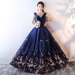$enCountryForm.capitalKeyWord Australia - Real Photos New Navy Blue V neck Evening Dress off shoulder Floral Print Long Formal Dress Woman Party Dresses Evening Gown