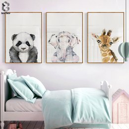 giraffes picture NZ - Nursery Animal Posters Wall Art Canvas Printed Wall Decor Panda Giraffe Elephant Nordic Kawaii Picture For Kids Room Decor