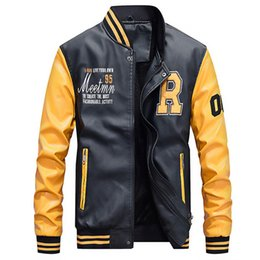Baseball Jackets Pu NZ - Brand 2019 PU Leather Jacket Men Wool Liner Fleece Warm Patchwork Military Jacket Baseball Collar Pilot Leather Jacket Coat