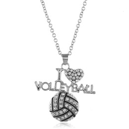 crystal basketball necklace NZ - New I Love Volleyball Necklaces crystal Letter Heart Basketball Football Pendant Silver chains For Women Fashion Sports Jewelry Gift