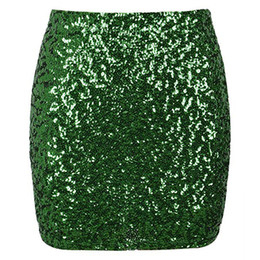 14aad08436 Women Reflective Shiny Sequined Skirt Sexy High Waist Glitter Silver Gold  Pencil Skirts Bodycon Female Party Mini Skirt