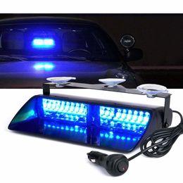 Lighting Dash Australia - Blue 16 LED High Intensity LED Law Enforcement Emergency Hazard Warning Strobe Lights For Interior Roof Dash Windshield