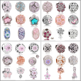 $enCountryForm.capitalKeyWord NZ - 2019 New 1pc Silver Spring Light Pink Magnolia Flower Clip Or Bead Charms Fits European Pandora Charm Bracelets