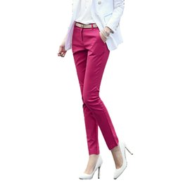 women formals high waist pants NZ - High waist elegant woman office pants trousers work Capris ladies formal pencil skinny pants classic for women