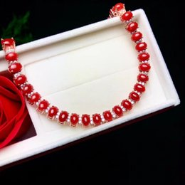 Sterling Silver Coral Bracelet Australia - Deluxe Natural Red Coral Bracelet Multiple Grains Red Sardine Coral Inlay Beautiful Bracelets For Women Coral Jewelry Free Shipping