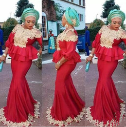 $enCountryForm.capitalKeyWord Australia - 2019 Aso Ebi red Mermaid Prom Dresses Nigeria long sleeves with gold Lace Appliques Saudi ruched Fashion Party Celebrity Evening gowns