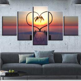 Art Canvas Prints Australia - Canvas Printed Pictures Home Decor Frame 5 Pieces Ocean Hearts Tree Paintings Sunrise Bridge Landscape Poster Modular Wall Art