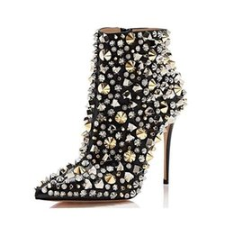 Wholesale Spring Ladies Sequins Silver Gold Full Metal Rivets Studs Ankle Boots Pointed Toe Female Footbridge Bling High Heel Boots Women