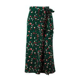 $enCountryForm.capitalKeyWord UK - Vintage Leopard Print Long Skirts Women High Waist Midi Skirt Bow Tie 2019 Summer Sexy Split Wrap Skirt Ladies Green Beach Designer Skirts
