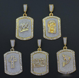 $enCountryForm.capitalKeyWord Australia - Luxury Iced Out Rhinesstone Dog Tag Necklace Gold Color Crystal Emoji 100 Points jesus Cross Pendant Necklace Men Hip Hop Jewelry