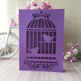 $enCountryForm.capitalKeyWord Australia - 20PCS  lot Wedding Invitation Cards Hollow Laser Cut Decor With Love Birds In The Cage Pattern Ceremony Invitations Cards