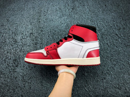 shoe box canvas Australia - [With Box tag] 1s Red Black 1 White Chicago UNC Mens Basketball Shoes For Women Air Sports Designer Sneakers Trainers off Size 36-46