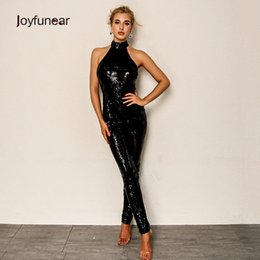 celebrity party jumpsuits Australia - Joyfuner 2018 Fashion Black Sequin Jumpsuits Sexy Women Halter Backless Celebrity Party Jumpsuits Hip Zipper Pencil Rompers Y19060501