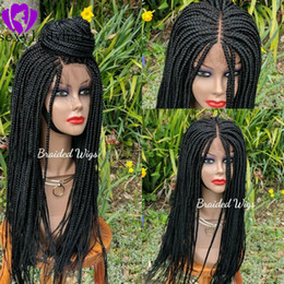 black braided hair styles NZ - New africa women style cornrow wig Synthetic Lace Front Braids Wigs For Women Black color brazilian Hair full Braided Wigs
