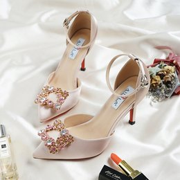 f89d1745659e Bridal Wedding Sandals Women High Heels Champagne Color Bridesmaid Crystal  Diamond Satin Material Ankle Strap Bridesmaid Shoes