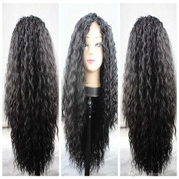 $enCountryForm.capitalKeyWord Australia - Charming Natural Soft Black Brown Long Kinky Curly Synthetic Wigs Cheap Heat Resistant Gluelese Lace Front Full Lace Wigs for black women