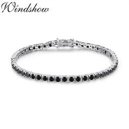 Discount silver cz tennis bracelet - 3mm 925 Sterling Silver Cluster Round Black CZ Ziron Tennis Bracelets Pulseras Pulseira Bracelete Women Jewelry Girl Fri