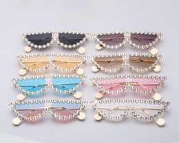 cat eye frames rhinestones 2021 - New Arrival Fashion Rhinestone Frame Women Sunglasses Pearl Tip Of Temples Metal Cool Cat Eye Sun Glasses GG Same Model 8 Colors Hot Sale