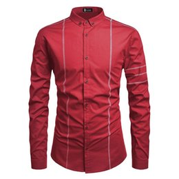 Wholesale spliced shirt online – Splice Shirt Mens Long Sleeve Lapel Clothes Solid Casual Single Breasted Homme Tops Spring Designer Mens