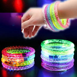 $enCountryForm.capitalKeyWord Australia - Acrylic Glitter Glow Flash Led Bracelet Light Up Toys Sticks Luminous Crystal Hand Ring Bangle Stunning Dance Party Christmas Gifts