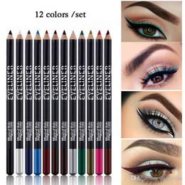 $enCountryForm.capitalKeyWord NZ - New Cosmetics Eyeliner Pencil Lot Easy to Wear Pigment Black White Blue Waterproof 12pcs Eye Liner Pencils Set