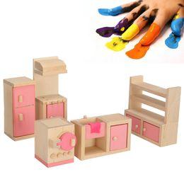 Doll Kitchen Set Australia - Mini Delicate Wooden Dollhouse Furniture Toys Miniature For Children Pretend Play Bedroom Kitchen 6 Room set Dolls Toys Gifts