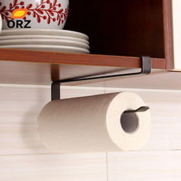 bathroom cabinet shelves UK - ORZ Creative Kitchen Paper Holder Hanging Tissue Towel Rack Bathroom Toilet Roll Paper Towel Holder Kitchen Cabinet Storage Rack Y200429