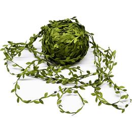 $enCountryForm.capitalKeyWord Australia - 10 Meter Silk Leaf-Shaped Handmake Artificial green Leaves For Wedding Decoration DIY Wreath Gift Scrapbooking Craft Fake Flower