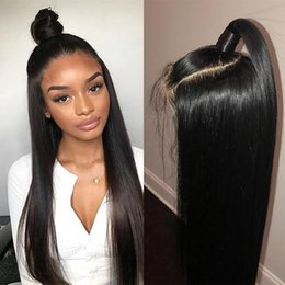straight human hair full lace wigs Australia - Long Straight Lace front and Full lace Wig Brazilian Vrigin Human hair Wigs With Baby Hair Bob Straight Wig For Black Women