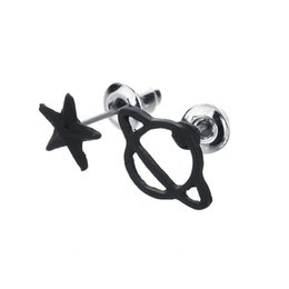 black jewelry set studs NZ - Black Gun Plated Star&Saturn Stud Earrings Set for Women Cute Space Piercing Fashion Earring Bijoux Jewelry Accessories E976