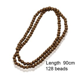 gold beads long chain designs NZ - XIAOJINGLING 90cm Fashion Long Necklace Men Jewelry Simple Design 128 Beads Wood Necklaces Creative Sweater Accessories Present