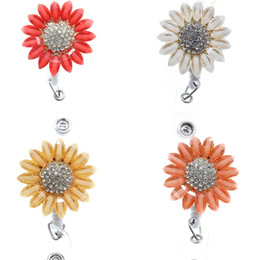rhinestone badge reels UK - 10pcs lot Sparkly Rhinestone Nurse Medical Doctor Symbol Acrylic Sunflower Shape Retractable Badge Reel Holder Clip Name Badge Reel