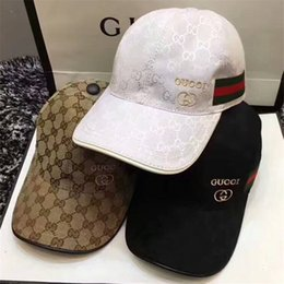 8135fc2783e02 Luxury Spring Striped Sun Hats Autumn Fashion Brown Black Snapback Caps Hot  Style Outdoor Men Women White Baseball Cap Lover Gift with Box