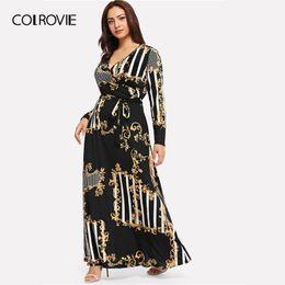 $enCountryForm.capitalKeyWord Australia - Colrovie Plus Size Black Mixed Print Striped Casual Dress Women 2019 Spring Fashion Long Sleeve A Line High Waist Maxi Dress MX190725