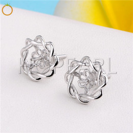 Sterling Silver Earring Blanks Australia - HOPEARL Jewelry Pearls Earring Blanks like flower 925 Sterling Silver Pearl Mountings Women Jewelry DIY Findings 3 Pairs