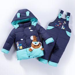 Boys Parkas Australia - good quality baby boys winter warm clothes set thick down jacket girls romper down jacket clothing set infant girl down parkas