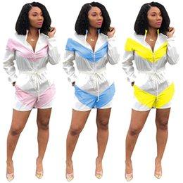 2019 Women Summer Zipper Up Hooded Colorful Patchwork Short Sunscreen Jumpsuit Sport Romper Playsuit 3 Color Tracksuit Plus Size Women's Clothing