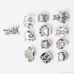 $enCountryForm.capitalKeyWord NZ - Mix elephant owl dog Antique Silver Plated Alloy Big Hole Spacer Beads fit bracelet DIY Jewelry Necklaces & Pendants charms Beads