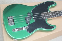 Metal String Guitars Australia - Free Shipping Factory Custom Metal Green 4 Strings Electric Bass Guitar with Black Pickguard,Chrome Hardwares,Maple Neck,Offer Customized