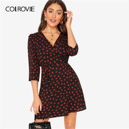 $enCountryForm.capitalKeyWord Australia - Colrovie V Neck Wrap Allover Heart Printing Elegant Dress With Belt Women Summer 2019 Korean Style Office Mini Ladies Dresses Y19071101