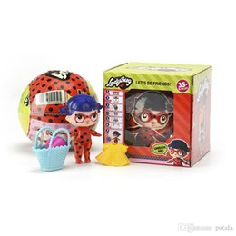 Baby Figures NZ - 1PC Ladybug LiL Sisters Doll Series 6 girl Action Figures 10CM Big Ball Dolls Dress Up Baby Spray Water Dolls Toys for Kids Fun Carton boxes