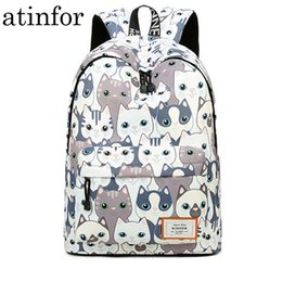 waterproof school book bag Canada - Waterproof Cat Printing Backpack Women School Students Back Pack Female 14-15.6 Inch Laptop Cute Book Bag For Girls Y19061102